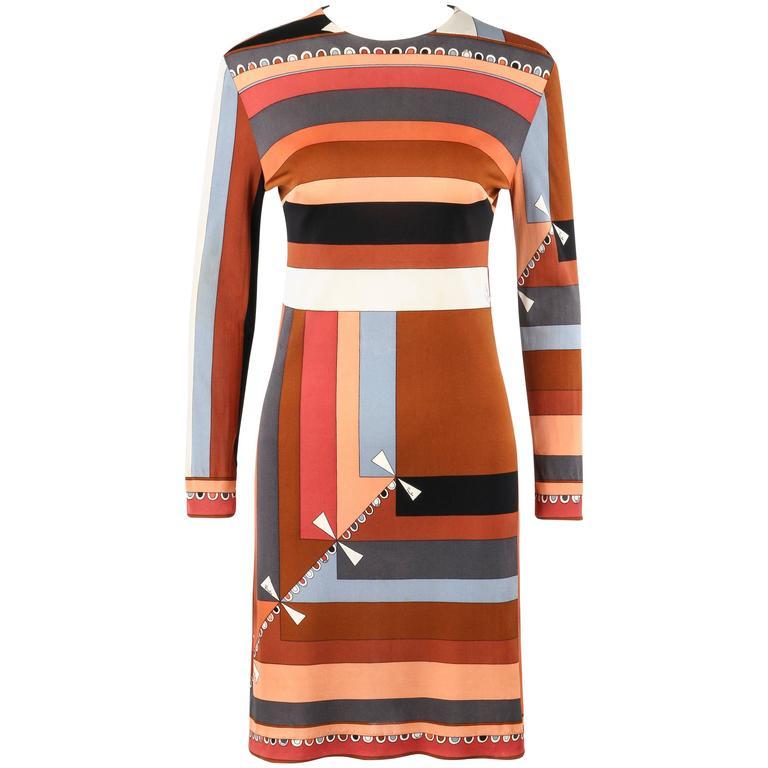 """EMILIO PUCCI c.1968 """"Colletti"""" Print Brown Multicolor Silk Jersey Shift Dress"""