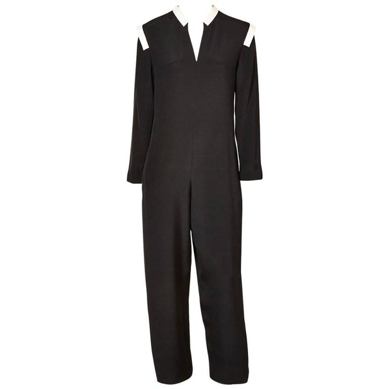 Geoffrey Beene Jumpsuit with White Detail For Sale