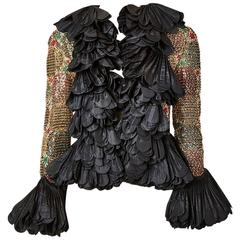 Couture Ruffled and Beaded Evening Jacket