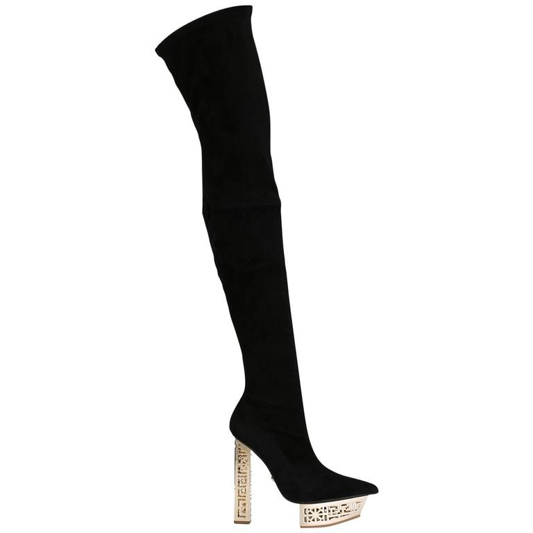 Versace Suede Knee-High Boots outlet big sale choice cheap get authentic vzqqNvQA
