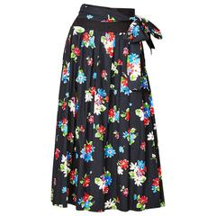 Yves Saint Laurent Floral Pattern Cotton Skirt