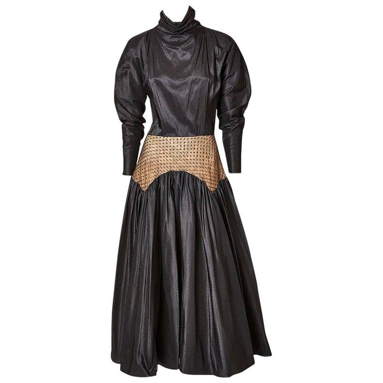Geoffrey Beene Taffeta Evening Dress With Point D'Esprit Detail For Sale