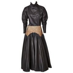 Geoffrey Beene Taffeta Evening Dress With Point D'Esprit Detail