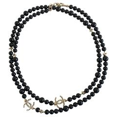 Chanel Black Beaded Necklace