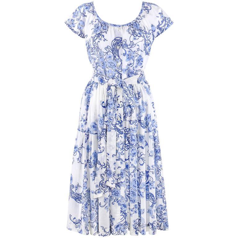 EMILIO PUCCI c.1970's 2 Pc White & Blue Floral Cotton Blouse Skirt Dress Set For Sale
