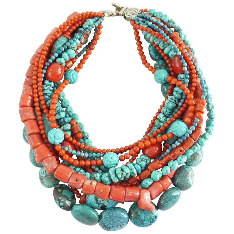 Stephen Dweck Coral and Turquoise Multi-Strand Beaded Necklace For Sale