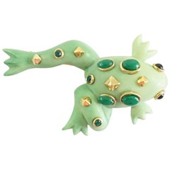 Replica Green Enamel Frog with Gold and Green Stone Detailing Brooch
