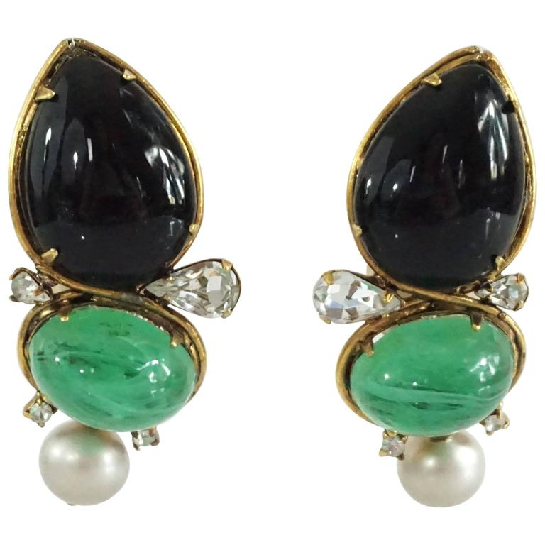 pin wedding gorgeous earring ea earrings glass stone drop green emerald