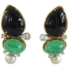 Iradj Moini Black and Green Stone Earrings