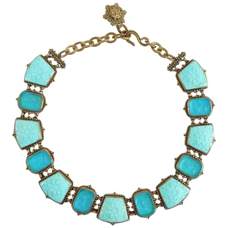 Stephen Dweck Intaglio Turquoise and Crystal Quartz Bronze Stone Necklace For Sale