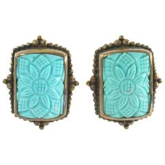 Stephen Dweck Turquoise and Bronze Earrings NWT - 2001 Collection