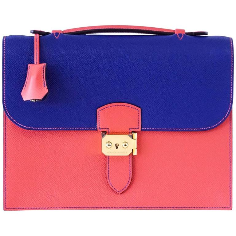 Hermes Sac A Depeche 27 Bag Horseshoe Electric Blue/Rose Jaipur Epsom Gold