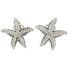 Replica Starfish with Blue Stones Earrings