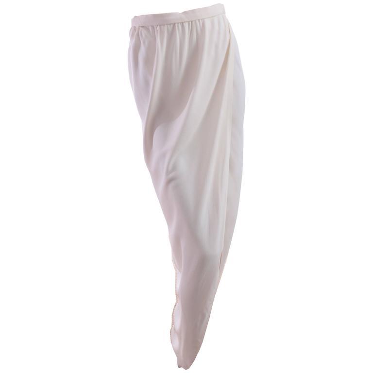 70s Halston Silk Wrap Skirt Creme White Crepe Tulip Documented Montaldo's Sz 12 1