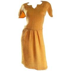 Size 14 NWT Vintage Ripetta Roma $4,200 Neiman Marcus Marigold 1990s Silk Dress