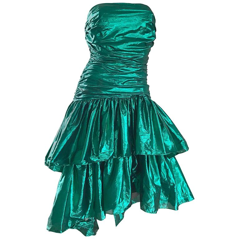 Betsey Johnson 1980s Metallic Green Lame High Low Vintage 80s Strapless Dress
