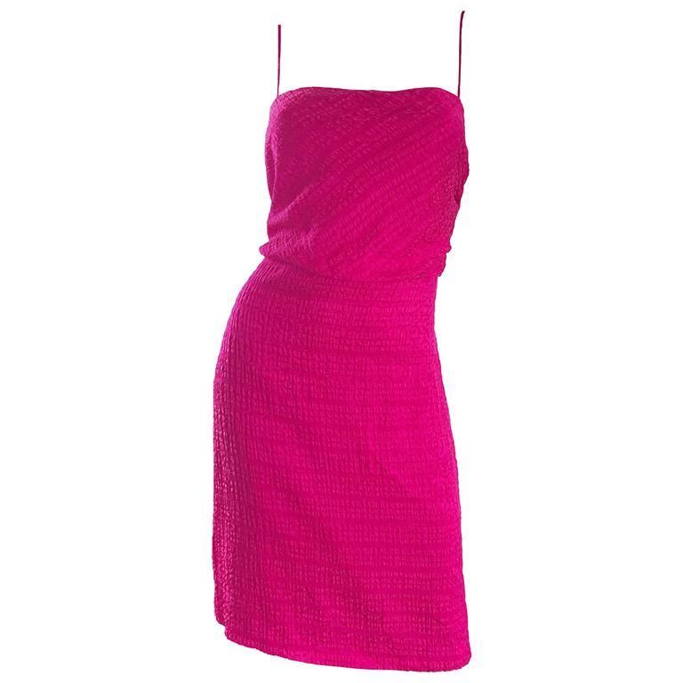 1990s Giorgio Armani Collezioni Raspberry Pink Fuchsia Size 6 Vintage Silk Dress