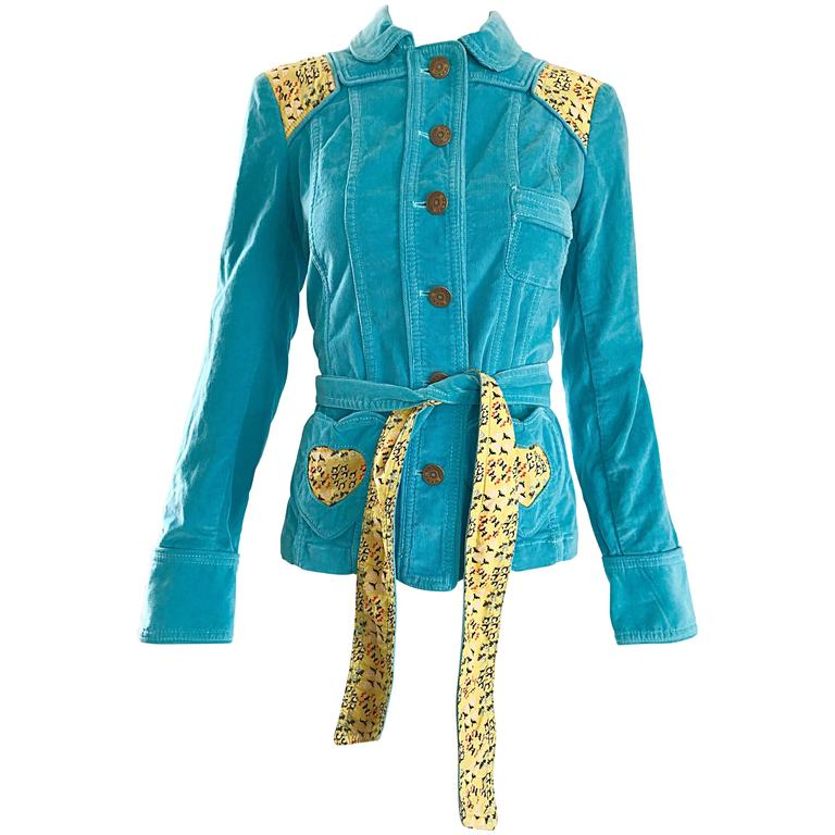 Marc Jacobs Teal Blue + Yellow Corduroy Patchwork ' Heart ' Belted Jacket