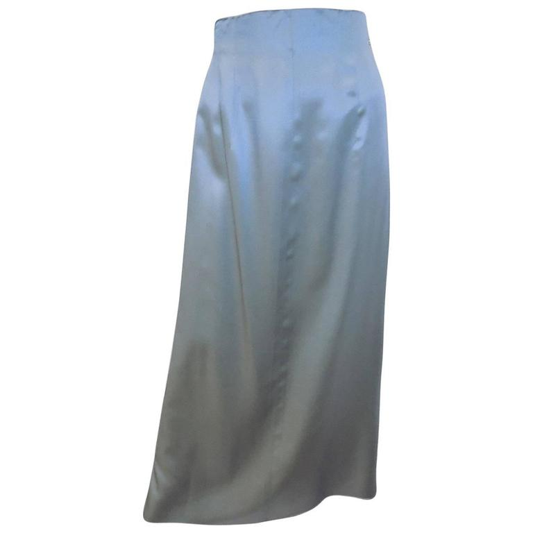 "Chanel lite blue long skirt  with accordion  ""carwash"" back  Collection  00C 1"