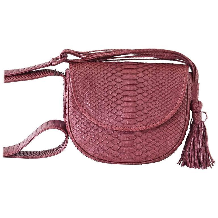 Eileen Kramer Bag Wine Snakeskin Shoulder Saddle Handbag Nwt For