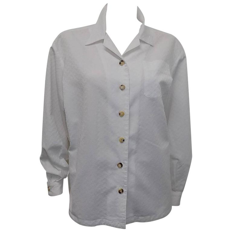 Hermes white Cotton shirt Blouse with horne buttons