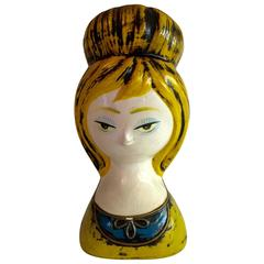 1960s Paper Mache Hand Painted Lady Head Wig Stand/Bank