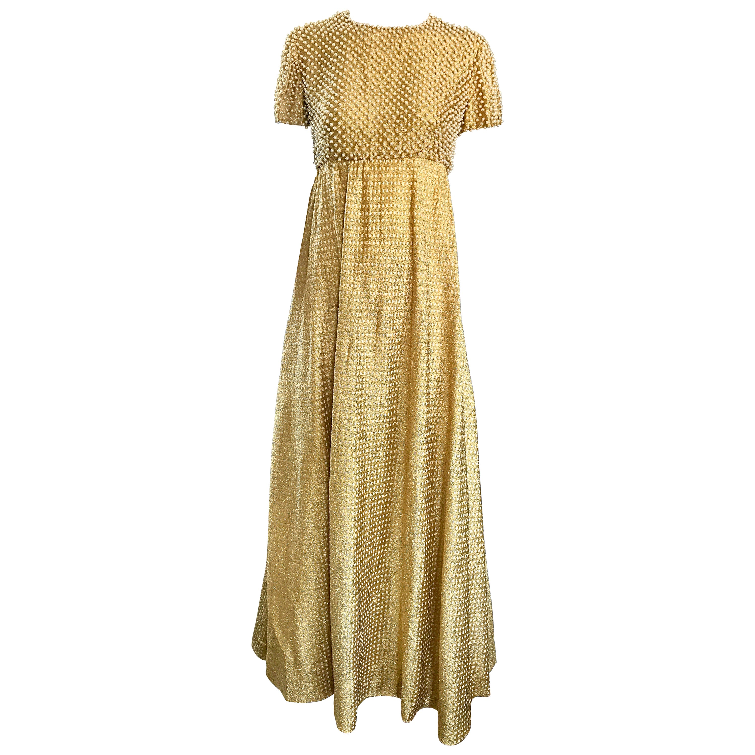 Geoffrey Beene 1960s Pearl Encrusted Gold Metallic Rare Vintage 60s Evening Gown