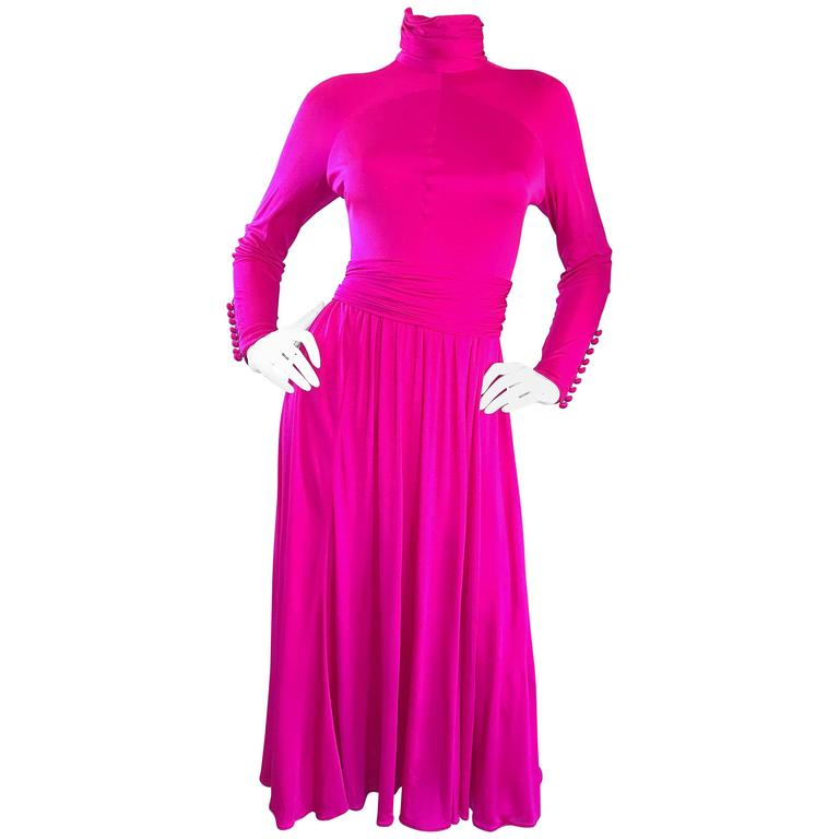Vintage Geoffrey Beene Shocking Hot Pink Fuchsia Silk Jersey Long Sleeve Dress