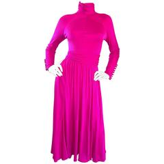 Vintage Geoffrey Beene Shocking Hot Pink Fuchsia Silk Jersey Long Sleeve Dress
