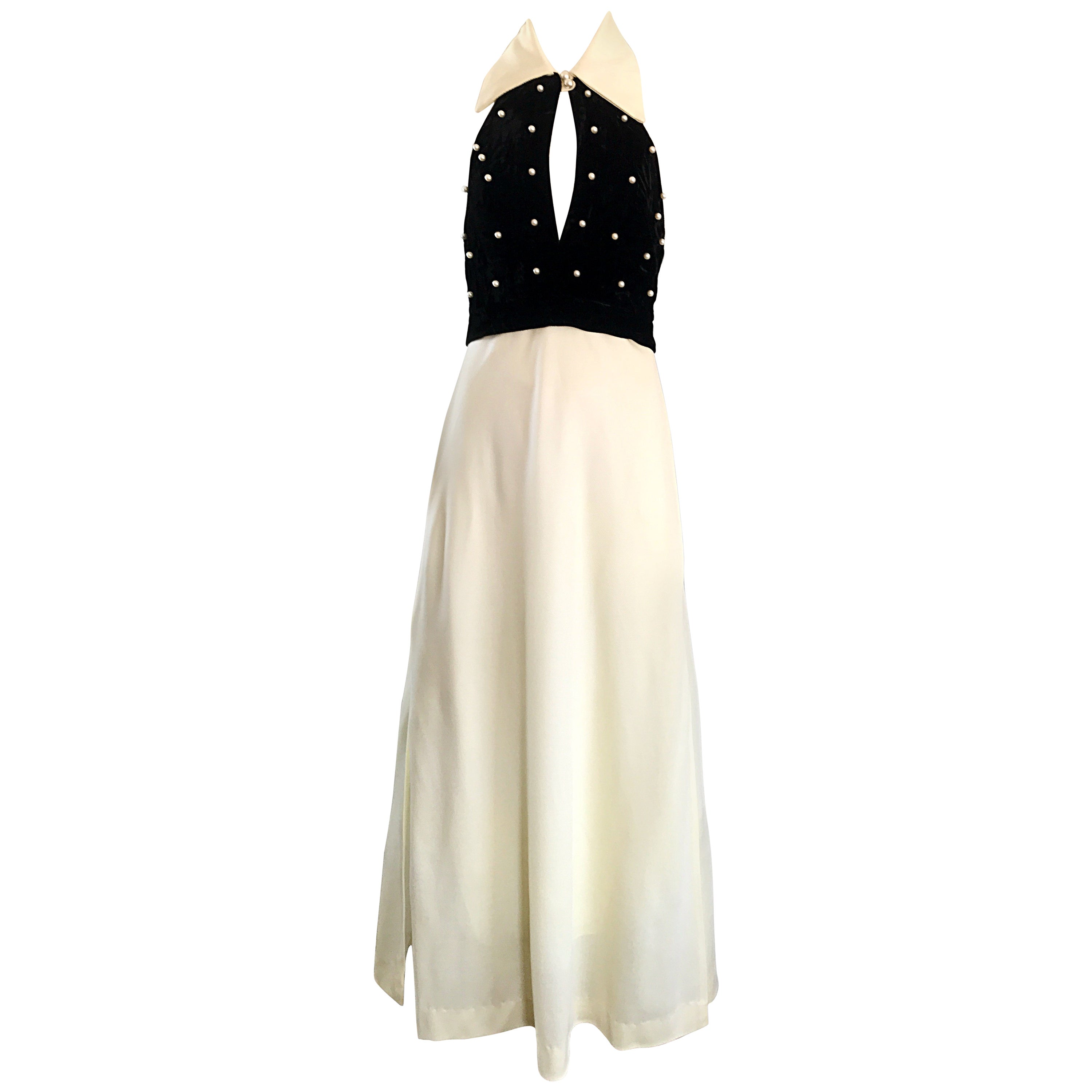 1970s Black and White Pearl Encrusted Peek-a-Boo Vintage 70s Maxi Dress