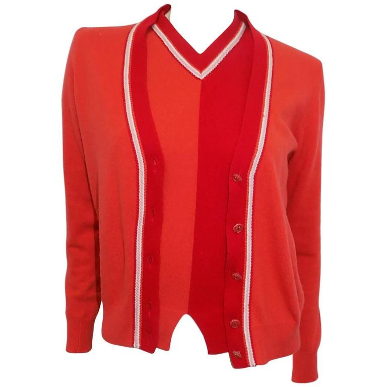 Chanel cashmere red orange 3 piece cardigan sweater set sz 40