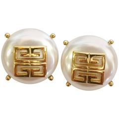 Rare  1980s Huge GIVENCHY Faux Pearl Logo Button Earrings