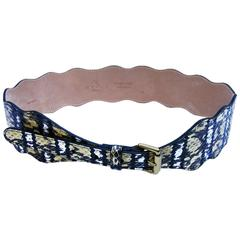New ETRO Snake Leather Belt Yellow Black White 32 inches (80 CM) 2.5 Wide