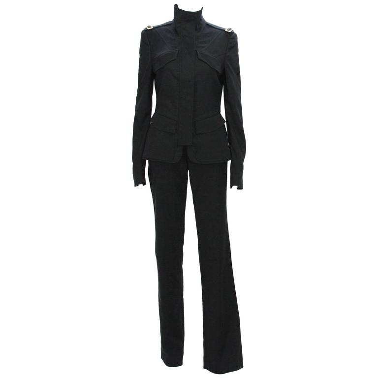 New Tom Ford for Gucci F/W 2003 Collection Runway Stretch Black Pant Suit 42