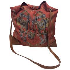 Hermes Silky City Silk And Leather Crossbody