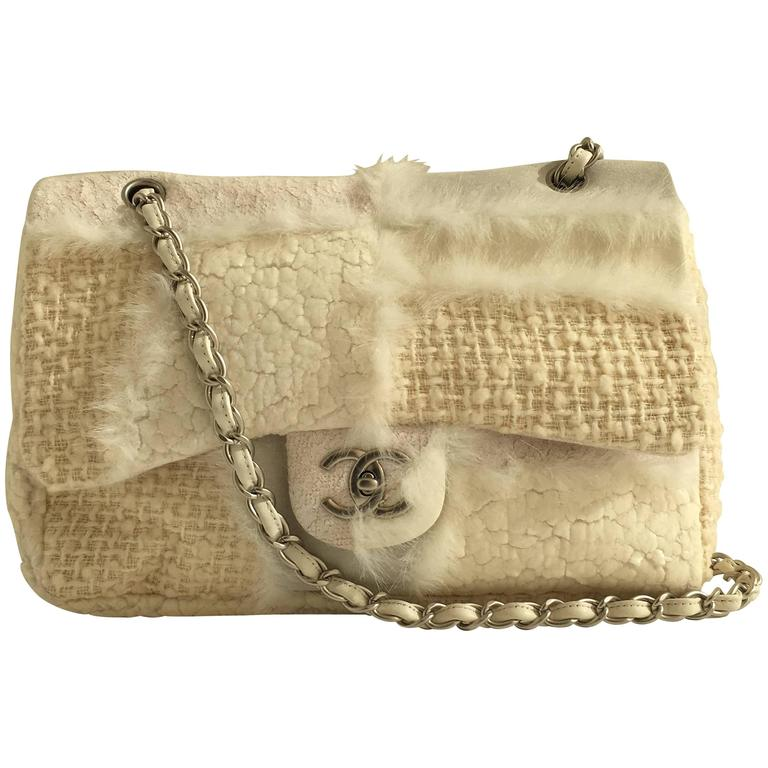Chanel Classic Flap Cream Bag In Multimedia Patchwork With Faux Fur Accents For