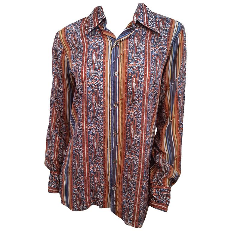 1970s Givenchy for Chesa Printed Shirt For Sale