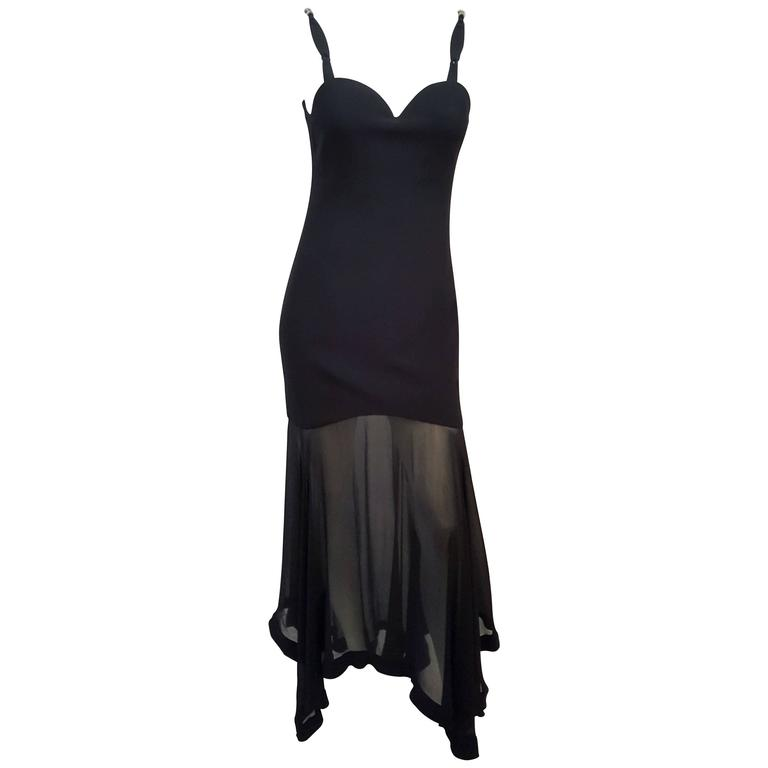 1990s Versace Dress w/ Handkerchief Chiffon Hem