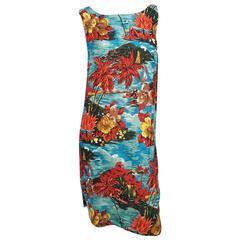 1950s Hawaiian Print Shift Dress Cover Up