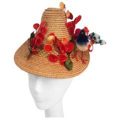 1940s Straw Hat w/ Bird and Flower Embellishment