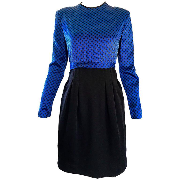 NWT 1990s Geoffrey Beene Size 8 / 10 Royal Blue Black Gingham Long Sleeve Dress