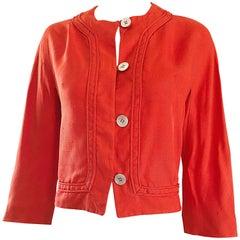 1960s Abercrombie & Fitch Orange Linen Vintage 60s Cropped Jacket