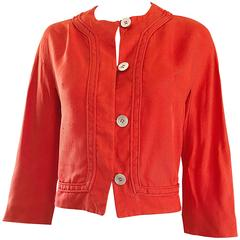 1960s Abercrombie & Fitch Orange Linen Vintage 60s Cropped Jacket