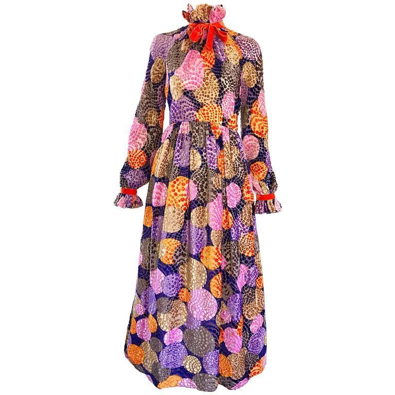 1970s Geoffrey Beene Silk Cut - Out Velvet Polka Dot Vintage 70s Maxi Dress