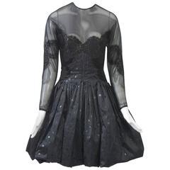 Geoffrey Beene Black Pouf Cocktail Dress