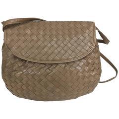 Bottega Veneta Intrecciato cocoa leather shoulder clutch handbag 1980s NWT