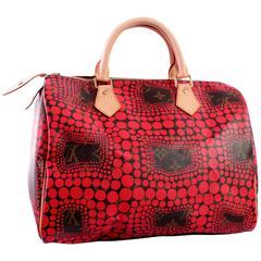 Limited Louis Vuitton Yayoi Kusama Red Pumpkin Dot Speedy Bag 30 + Box 2012