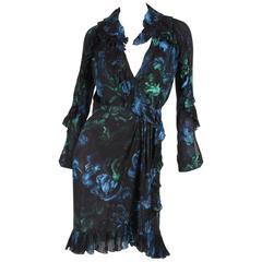 Gucci Silk Wrap Dress Floral Print - black blue green