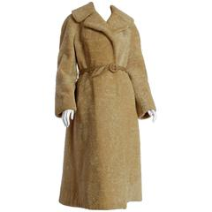 60s Dyed Lambs Fur Coat with Belt Sears Fashions Size 10