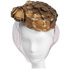 1960s Gold Pillbox Hat w/ Veil